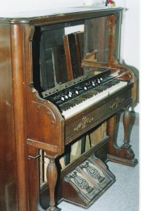 The pump organ used for services on Pelee Island, Ontario