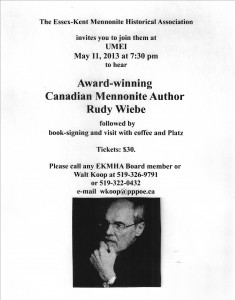 Rudy Wiebe poster for May  11, 2013 presentation