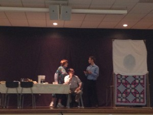 Marion Wiebe, Bill Hiebert, and Andrew Dyck  acting the wife, husband, and young doctor!